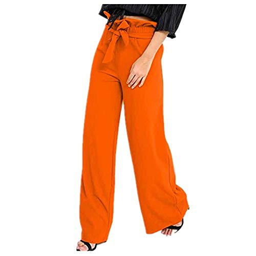 (iYYVV Plus Size Womens Ladies Low Waist Pocket Elastic Trousers Baggy Wide Leg Pants Orange)