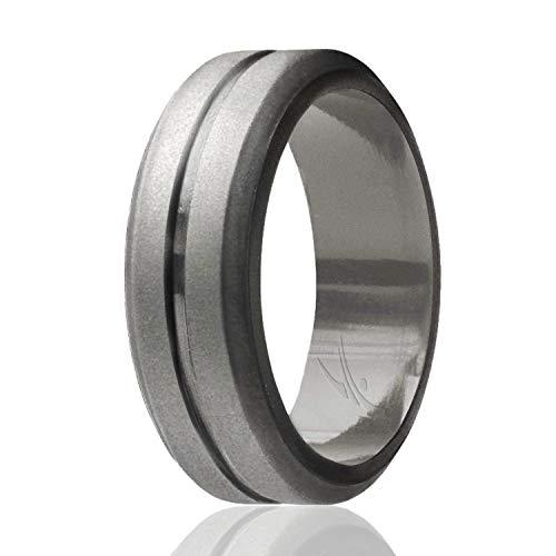 ROQ Silicone Wedding Ring for Men, Single Elegant, Affordable Silicone Rubber Wedding Bands, Brushed Top Beveled Edges -Beveled Matallic Platinum - Size 13 ()