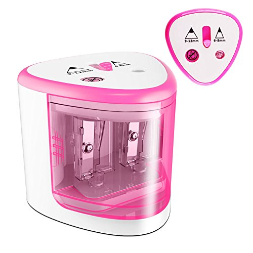 MROCO Battery Operated Electric Pencil Sharpener Colored Pencils Sharpener automatic pencil cutter for kids, adults, artists, or sharpeners for pencils, office professional pencil sharpener (Pink)