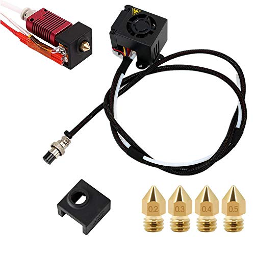CREALITY CR-10S 3D Printers Original Replacement Parts/Accessories Full Assemble MK8 Extruder Hot End Kits (with Nozzle 0.4mm /0.2mm /0.3mm /0.5mm) fit 3D Printing Printer CR-10 CR-10S CR10S5