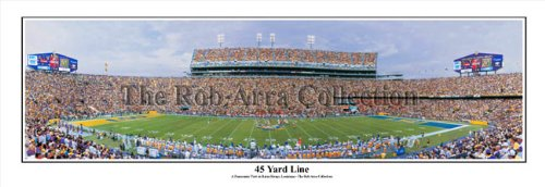 LSU Tigers Death Valley Baton Rouge, LA 45 Yard Line - NCAA Collage Football 13.5x39 Panoramic Poster. Frame Dimensions 15.5x41 Deluxe Brown
