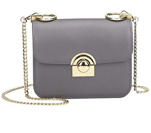Nuevo Matte Matte Jelly Bag Pequeño Hebilla De Cadena De La Moda Diagonal Pequeño Bolso Cuadrado Grey