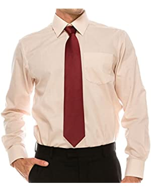Mens Regular Fit Dress Shirt w/Reversible Cuff, 17