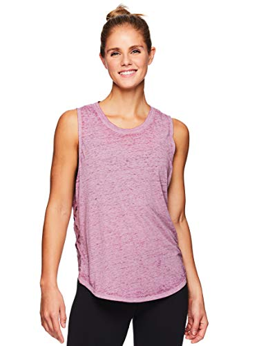(Gaiam Women's Flowy Yoga Tank Top - Sleeveless Performance Workout Shirt w/Strappy Side Detail - Mellow Mauve, X-Large)