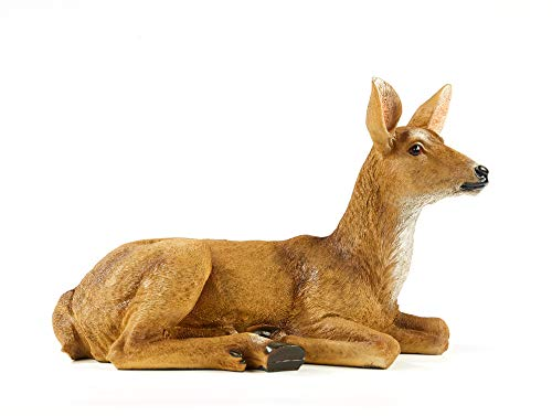 RubySports Small Doe Statuary Resin Statue Garden Lying Sculptures Cabin Animal Figurines Lodge Art Décor for Indoor Outdoor Home Or Office from RubySports Home Arts