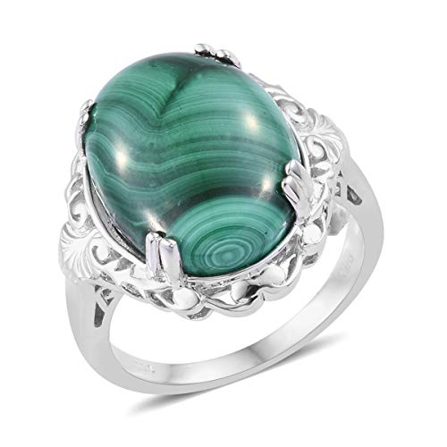 Shop LC Delivering Joy Solitaire Ring Oval Malachite Gift Jewelry for Women Size 10 ()