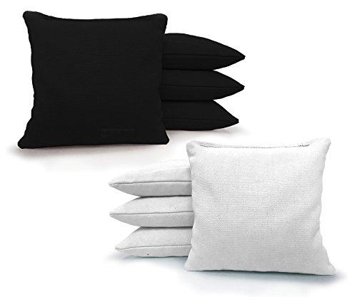 Regulation Cornhole Bags 17 COLORS Handmade Top Quality (Set Of 8)! Johnson Enterprise, LLC (Black/White)