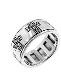 Sterling Silver Celtic Knot Cross Meditation Spin Band Ring(Sizes 4,5,6,7,8,9,10,11,12,13,14,15)