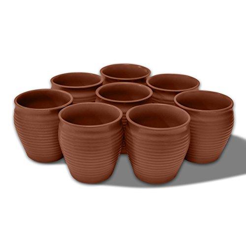 MC SID RAZZ Earthen Glazed Terracotta Chai (Tea) Handcrafted Studio Pottery Brown Kulhad Kullad/Kullar/Cups Set of 8 Brown by MC SID RAZZ