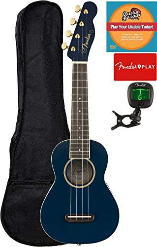Fender Grace Vanderwaal Moonlight Soprano Ukulele Bundle with Gig Bag, Tuner, Strap, Fender Play Online Lessons, and Austin Bazaar Instructional DVD
