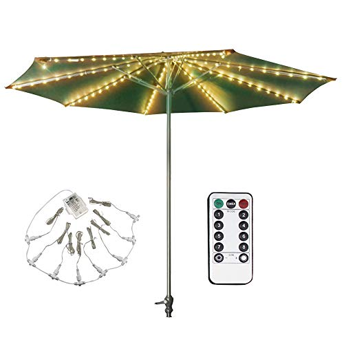 DreiWasser Patio Umbrella Lights (Newst Version), 8 Strings 8 Modes 104 LED Warm White Lights with Remote Control Outdoor/Indoor Waterproof (Batteries Not Included)