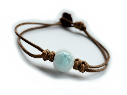 Fashion Jewelry Handmade Women One-Bead Design Porcelain Ice Crack Vintage Ceramic Beads Rope Bracelet (13mm Bead Sky Blue)
