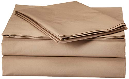 (Madison Park Forever Percale Twin Bed Sheets, Casual Count Cotton Bed Sheet, Khaki Bed Sheet Set 3-Piece Include Flat Sheet, Fitted Sheet & Pillowcase)