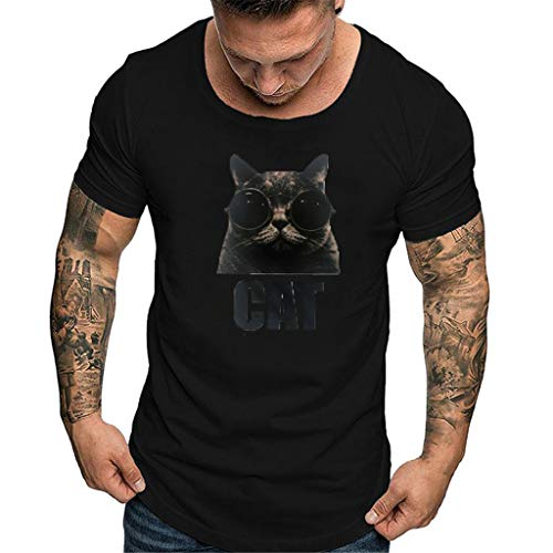 Shirt for Men, SFE Men Solid Printing Style Cotton Design T-Shirt Casual Shirts Tops Blouse Black]()