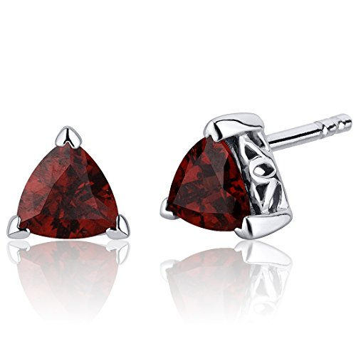 2.00 Carats Garnet Trillion Cut V Prong Stud Earrings in Sterling Silver Rhodium Nickel Finish