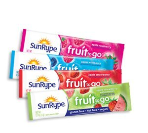 SunRype Fruit to Go 100% Fruit Strip Snacks - Vegan, Gluten-Free, Kosher, Peanut-Free (Case of 55 Strips)