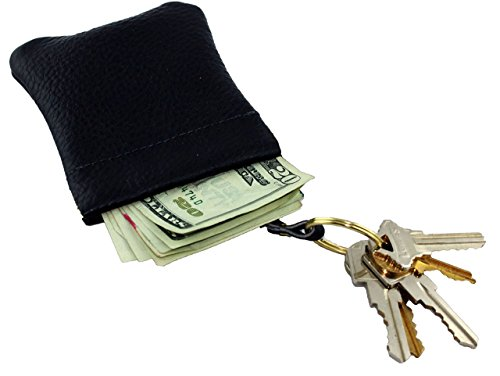 Classic Leather Squeeze Coin Purse Change Holder With Attached Key Ring For Men By (Keychain Coin Purse)
