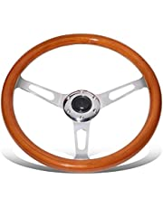 DNA MOTORING Chrome/Cherry Wood Grain SW1401 350mm Stainless Steel Spokes Grip Steering Wheel with Aftermarket 6-Bolt X 70mm Pattern,Chrome / Cherry Wood Grain