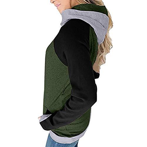 Patchwork Felpa Liquidazione Maniche di Vendita Autunno di Tops con Camicie Shirt T Casual Elegante Pulsante Verde Lunghe Camicette Cappuccio Autunno Donne FnC5xfw