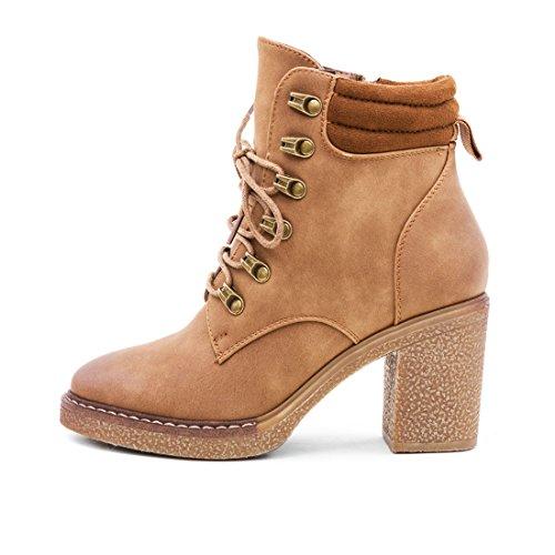 Marimo Damen Schnür Stiefel Stiefeletten Worker Boots mit Blockabsatz Camel