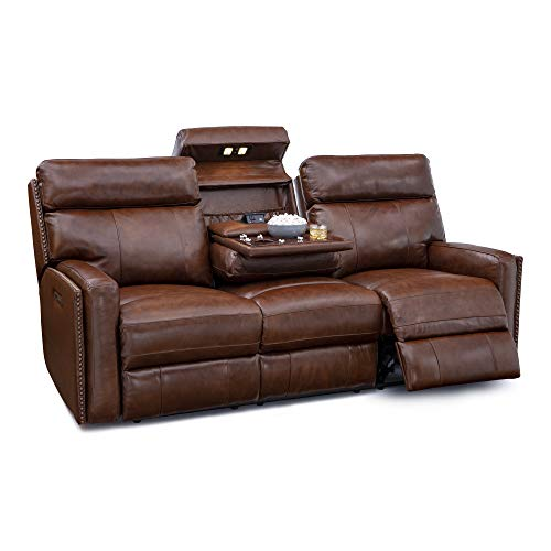 Seatcraft Lombardo Home Theater Multimedia Leather Sofa with Power Recline, Headrests, Fold Down Table, and USB Charging (Brown)