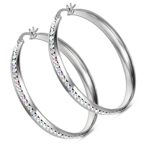- Cupimatch Women's Stainless Steel Large Hoop Earrings Rhinestone Silver Tone Pierced Christmas Gift