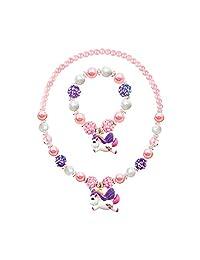 Litter Unicorn Pendant Chunky Bubblegum Necklace Bracelet Set Girls Gift