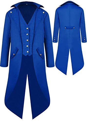 Mens Gothic Medieval Tailcoat Jacket, Steampunk Vintage Victorian Frock High Collar Coat, Halloween Costumes (M, Blue)]()