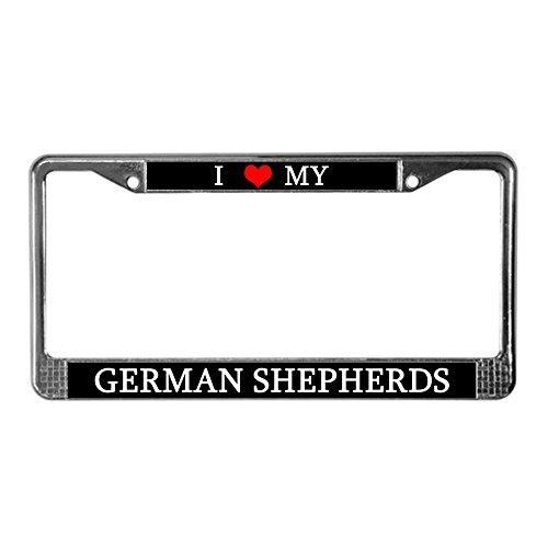 CafePress - Love German Shepherds License Plate Frame - German License Plate Funny