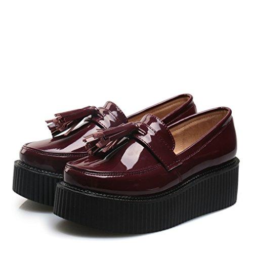 RoseG Mujer Zapatos Creepers Sin Cordones Plataforma Rojo