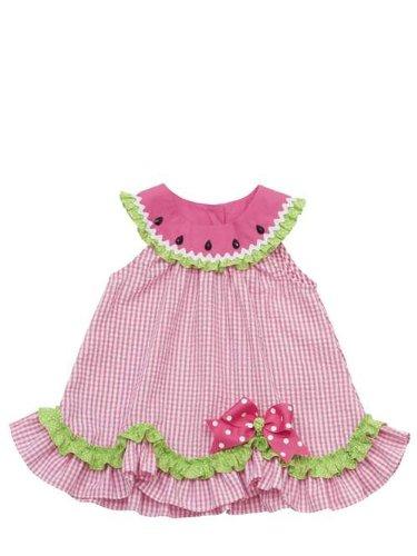 Rare Editions Girls 2T-4T Fuchsia Pink Lime Watermelon Seersucker Dress, ()
