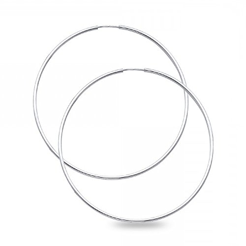 Plain Round Hoop Earrings Solid 14k White Gold Endless Classic Design Polished New 50 x 1.5 mm