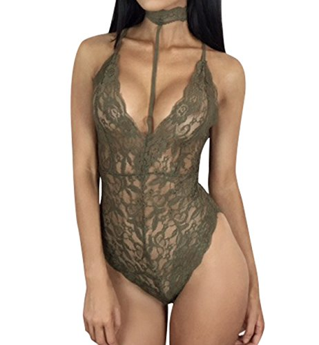 Surenow Womens Lace Deep V Romper Chemise One piece Pajamas Nightwear Sleepwear