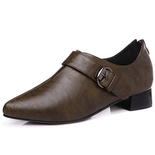 U-MAC Women Chunky Heels Platform Sneakers Pointy Toe Buckle Strap Thick Heel Zipper Chic Stylish Walking Shoes
