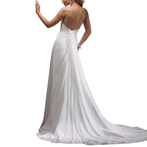 Perlen Sexy GEORGE Elfenbein Chiffon V BRIDE Spaghetti Zug Ausschnitt Kapelle Abendkleid 1ZawqOa