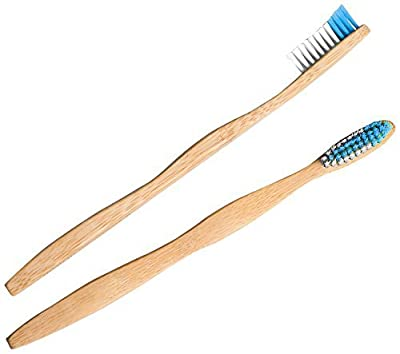 SoniFox 2 Pcs Bamboo Toothbrush for Adult Eco-Friendly biodegradable Bamboo Handles and BPA-Free Nylon Bristles For Natural Dental