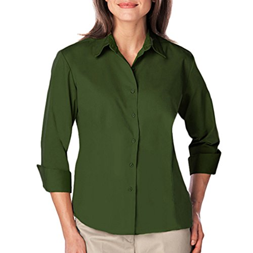 Blue Generation BG6260 - Ladies 3/4 Sleeve Easy Care Poplin with Matching Buttons (Large, Hunter)