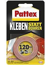 Pattex 526468 526468 Lijmen in plaats van boren, plakband, extra sterk dubbelzijdig plakband, dubbel plakband voor montagewerkzaamheden binnen en buiten, wandbevestiging zonder boren, 19 mm x 1,5 m
