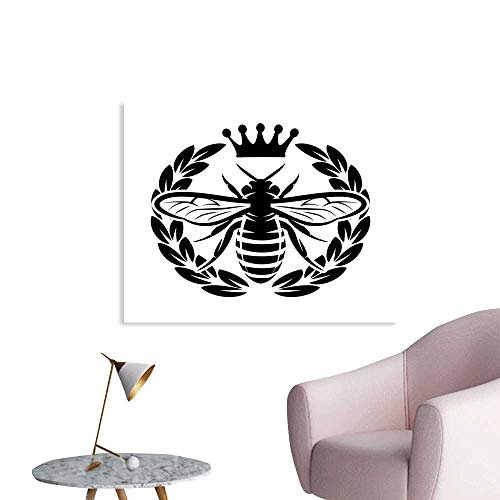 (J Chief Sky Queen Bee Custom Prints Poster Monochrome Wreath Insect and Crown Abstract Bee Silhouette Ruler of The Colony Mural Wallpaper W20 xL16)