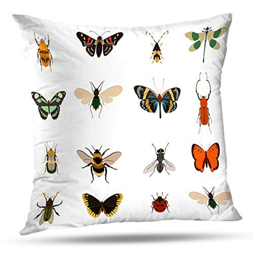 (hernantfvfiq Colorful Butterfly and Collection White Ladybug Beetle Pillowcase Cushion Cover 20 x 20inch Pillowcase Cover for Bedroom Living Room)