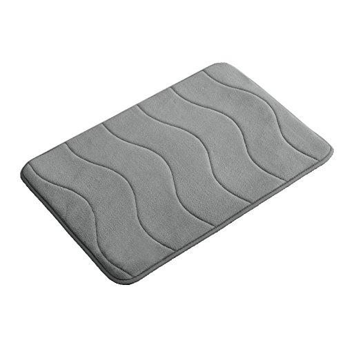 Memory Foam Coral Fleece Non Slip Bathroom Mat, Thick Durable Bath Rugs 17W X 24L inches (Gray Waved Pattern) (Coral Flamingo)