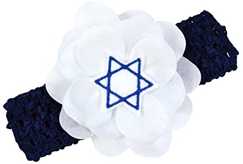 Hanukkah Jewish Star of David Chanukah Crochet Flower Headband fits Newborn to 5 ()