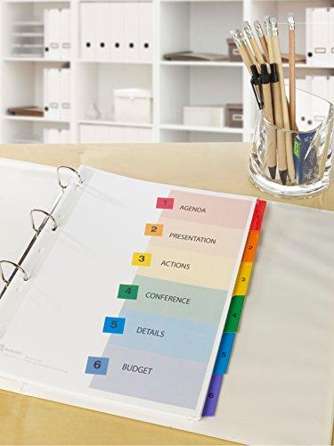 Avery Zweckform 1736501 Spezialkarton Register (A4, Inhaltsblatt bedruckbar, 1 Set) mehrfarbig