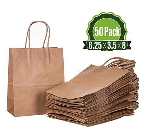 Brown Kraft Paper Gift Bags Bulk with Handles (50 Bags) 6.25x3.5x8 Ideal for Shopping, Packaging, Retail, Party, Craft, Gifts, Wedding, Recycled, Business, Goody and Merchandise Bag ()