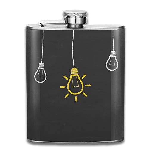 Laki-co Light Bulbs Hip Flask for Liquor Stainless Steel Bottle Alcohol 7oz