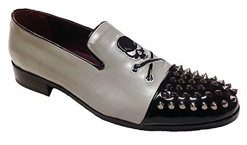 scarpe uomo slippers in vitello con borchie e ricamo (IT Uomo 46)