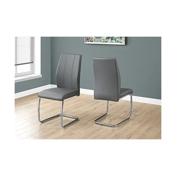 Monarch Specialties I I 1075 2 Piece Dining CHAIR-2PCS/ 39″ Leather-Look/Chrome