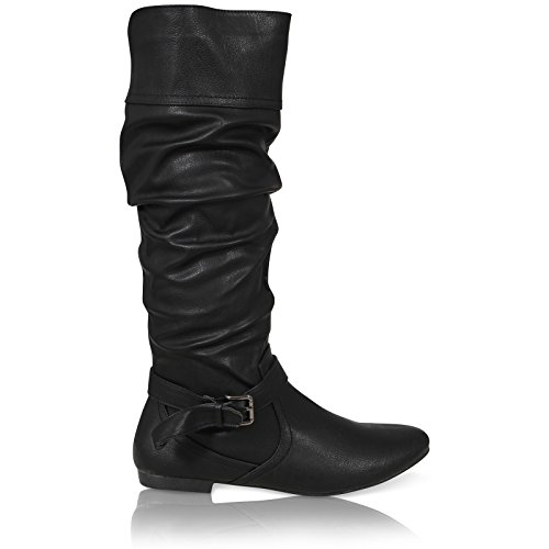 WOMENS LADIES CALF SLOUCH RUCHED ZIP ROUND TOE BUCKLE RIDING BOOTS SIZE 3-8 BLACK LEATHER PU Z5XZX