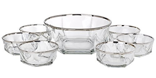 5th Avenue Collection Italian Crystal Dessert Bowls Ice Cream Bowels Silver Band 7 Piece Set ()