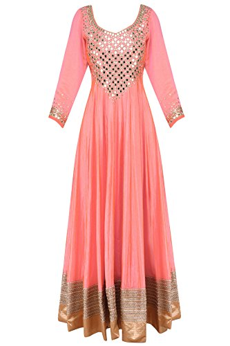 Coral Pink and Mint Mirror Work Anarkali - Mirror Mumbai Shopping